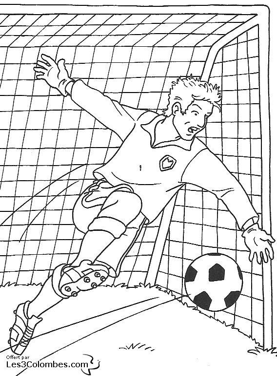 Coloriage foot 01 coloriage en ligne gratuit pour enfant - Coloriage gardien de foot ...